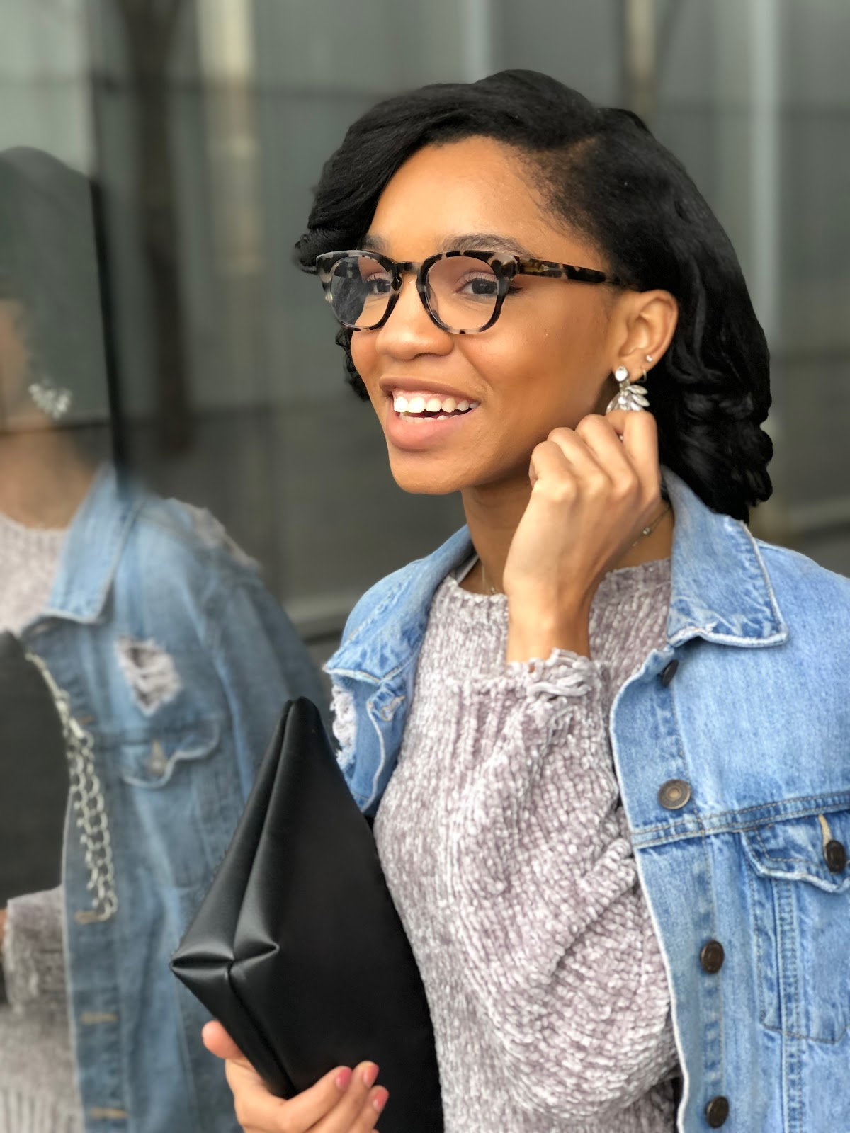 warby parker casper frames and moon and lola statement earrings smiling style blogger