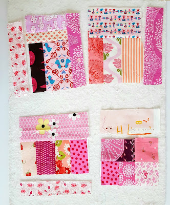 pink log cabin blocks