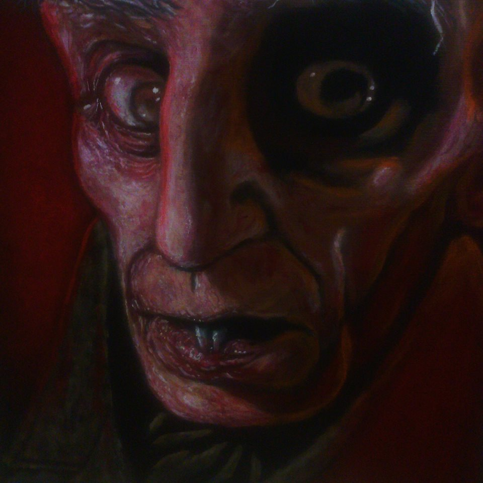 Paintings Of Classic Horror Icons Including Dracula And Freddy Krueger