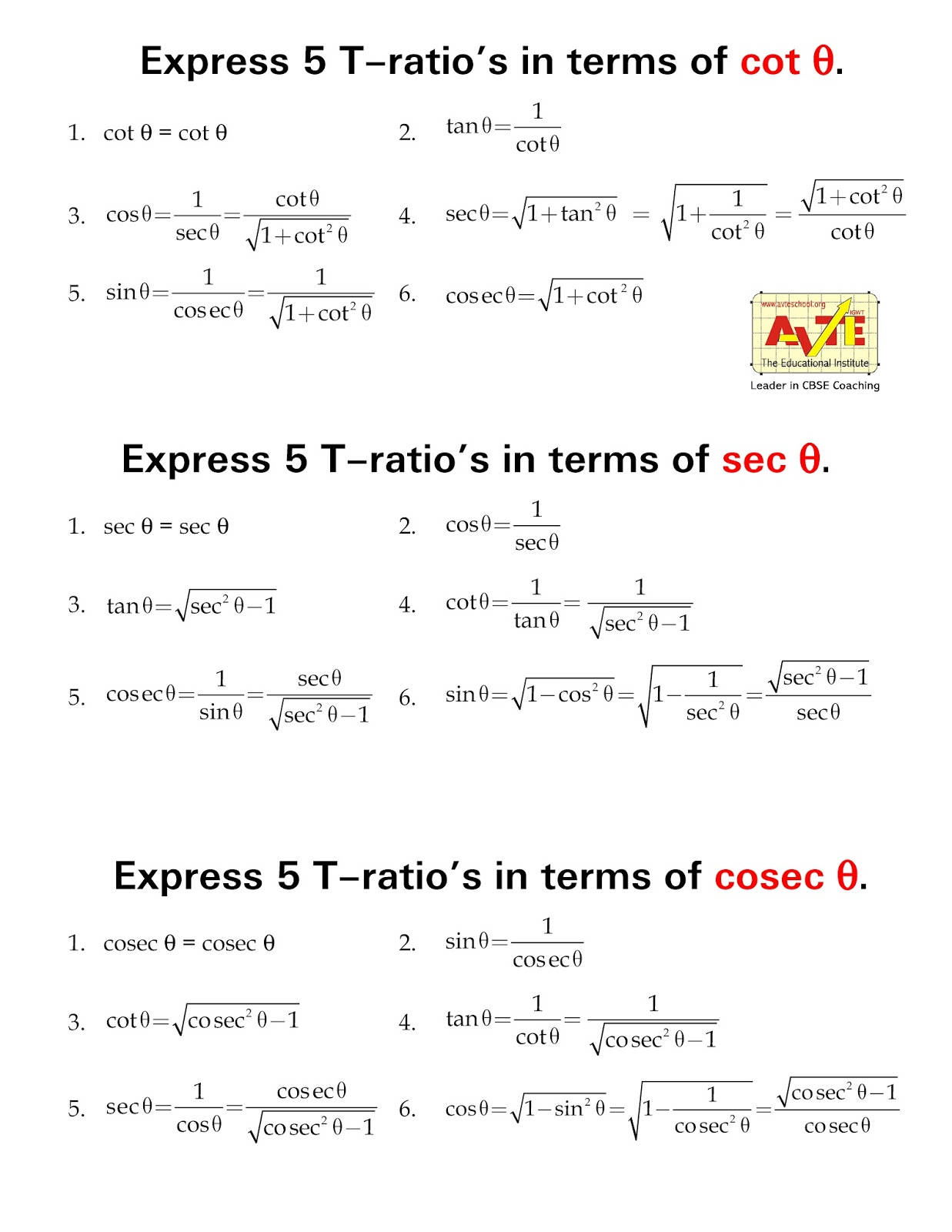 Maths4all Express Trigonometry Ratios In Terms Of Cot Sec Cosec
