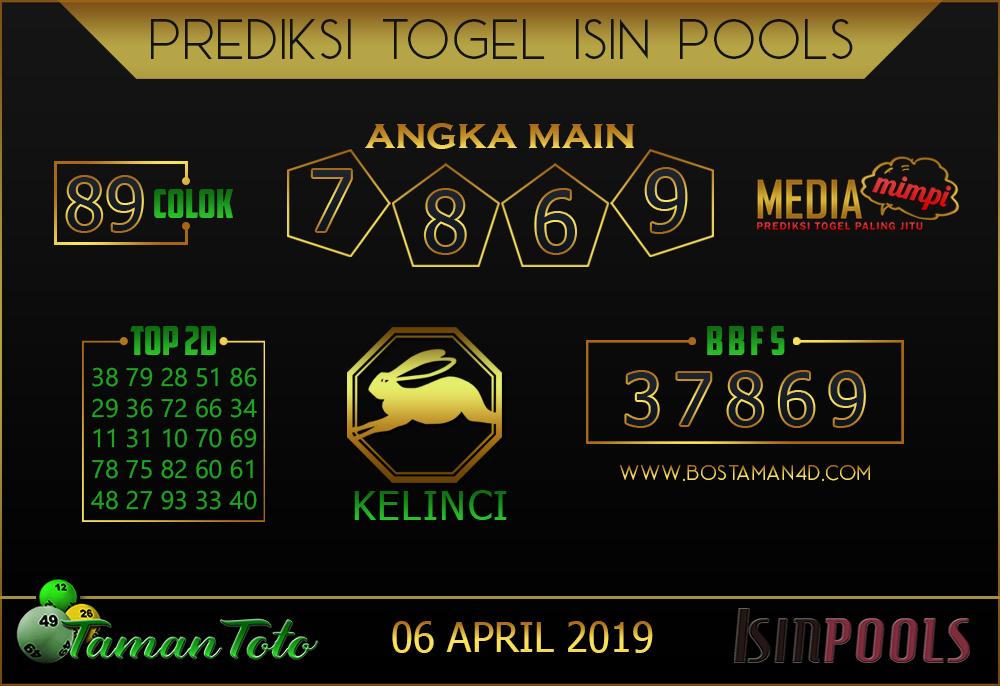 Prediksi Togel ISIN TAMAN TOTO 06 APRIL 2019