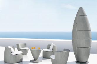 Jardin design : Salon de jardin Obelisk créé par Frank Lightart pour l'éditeur Dedon