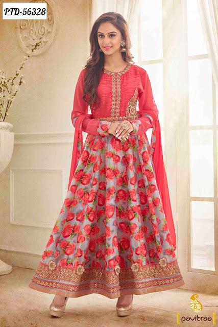 New designer red color silk jivika krystal d'souza style anarkali salwar suit online shopping