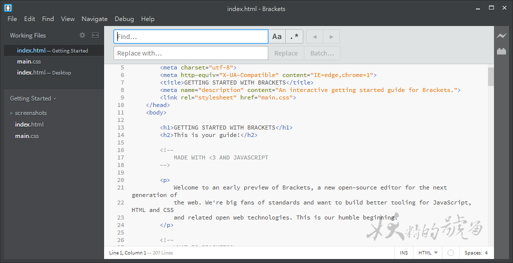3 - Brackets - 由Adobe開發,好用、簡單又美觀的網頁編輯器