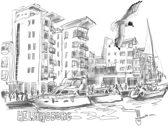 Helsingbog, urban sketch by Ulf Artmagenta