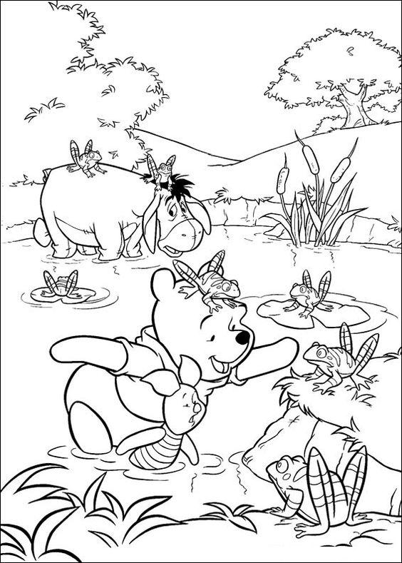 Tranh cho bé tô màu gấu Pooh 32