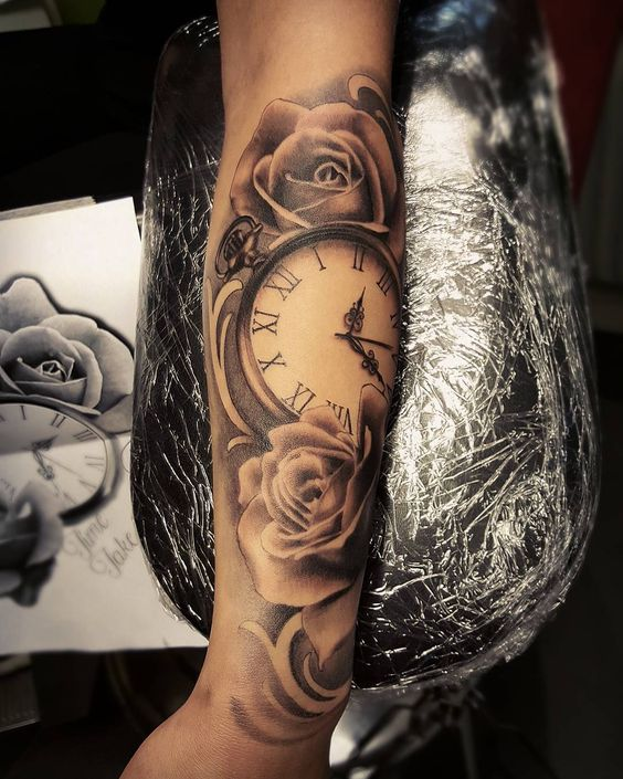 Colorful Clock & Rose Tattoo