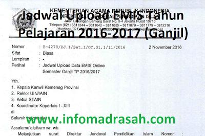 Jadwal Upload EMIS Tahun Pelajaran 2016-2017 (Ganjil)