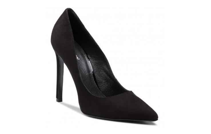 Pantofi dama cu toc subtire negri din piele naturala de antilopa