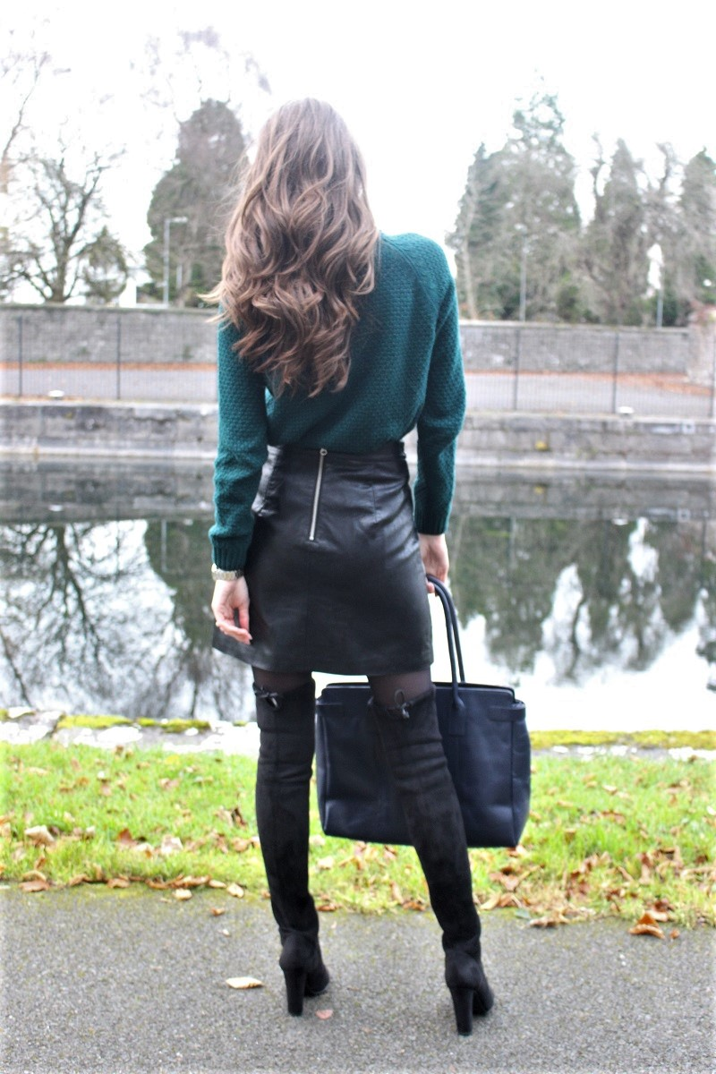 knitted green sweater, skirt and over-knee boots