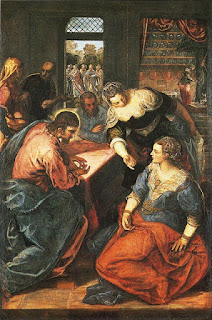 Cristo em Casa de Marta e Maria. 1578, de Tintoretto.Dim. 170 X 145 cm. Óleo sobre tela. Pinacoteca , Munique
