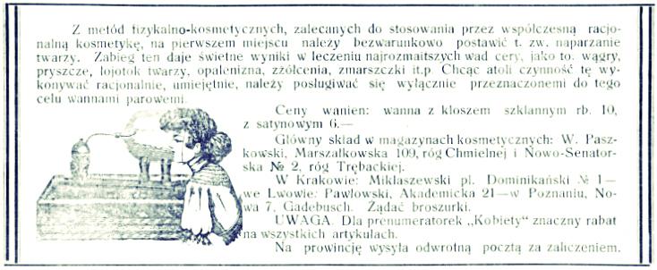 Naparzanie twarzy • reklama prasowa, 1913