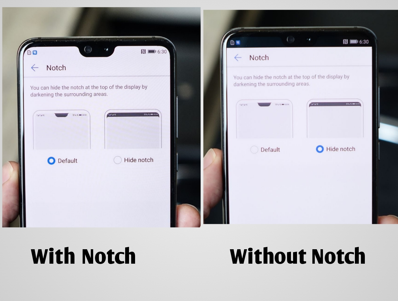 The P20 With, and without Notches