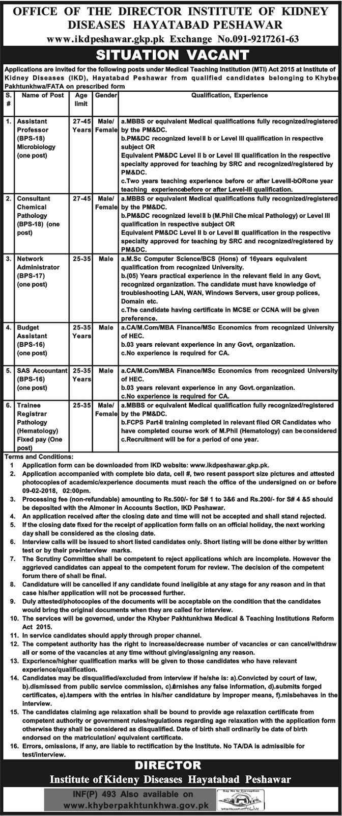 Jobs In Institute Of Kidney Diseases Hayatabad Peshawar January 2018
