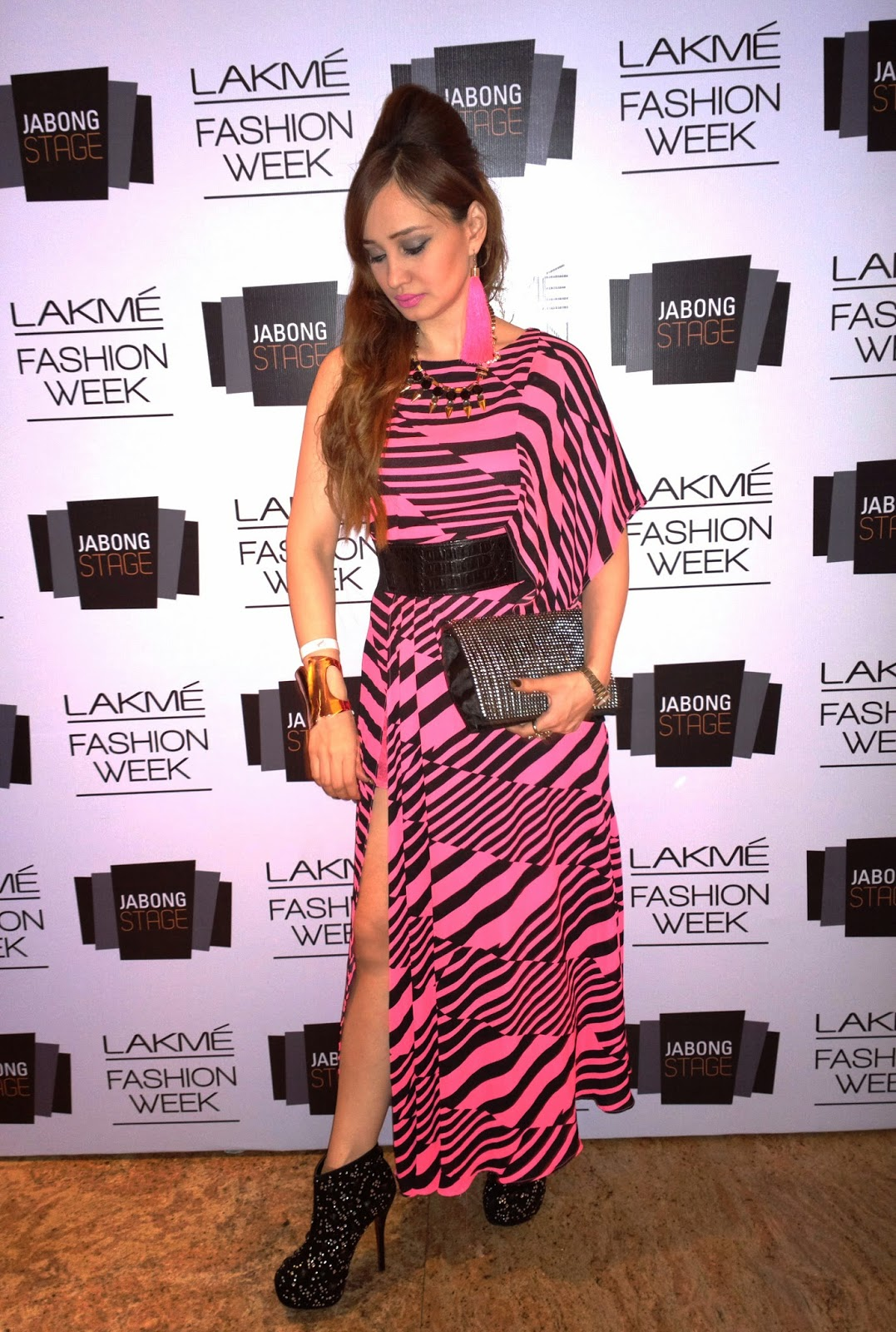 Black & Pink Maxi Dress at Lakme Fashion Week