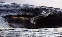 Dev deniz dalgasının içinde küçücük kalmış olan ve sörf yapan bir sörfçü