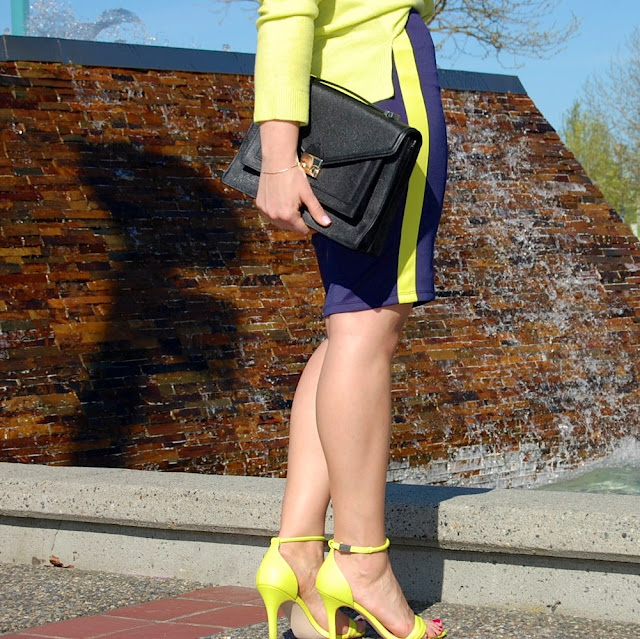 Joe Fresh neon cashmere sweater, blue neoprene pencil skirt, Loeffler Randall Rider bag and Prabal Gurung for Target heels