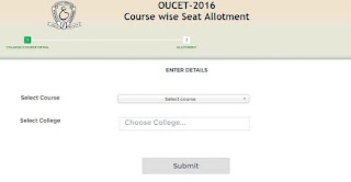 OUCET 2016 Coursewise Seat Allotment