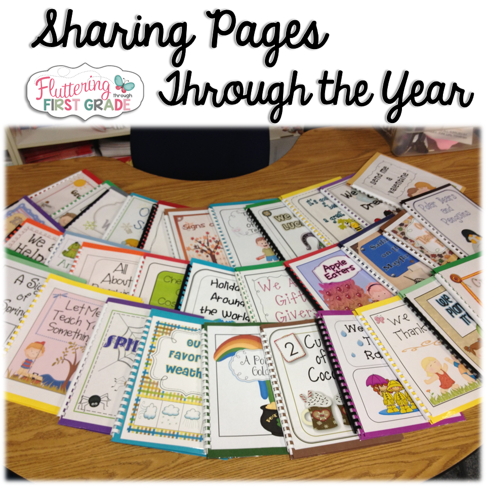 Class writing books through the year. Students write one per week and we bind them together to create class books all school year long. We raffle off the class books on the last day of school.