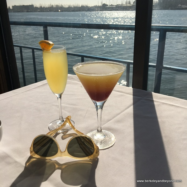 mimosa and Eve's Sunset cocktails at Eve's Waterfront Restaurant in Oakland, California
