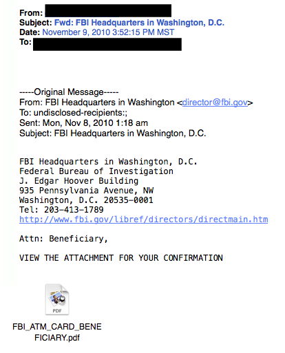 FBI phishing example