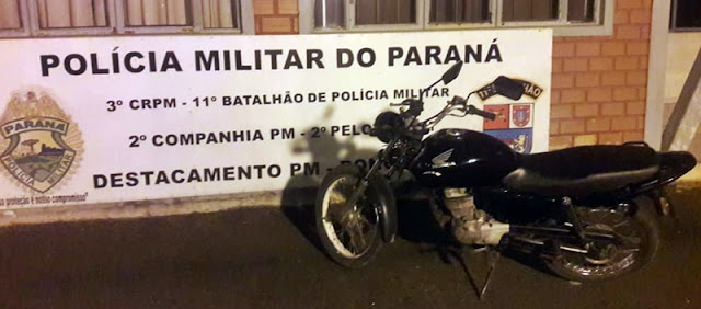 Roncador: PM recupera motocicleta que havia sido furtada na cidade de Pitanga