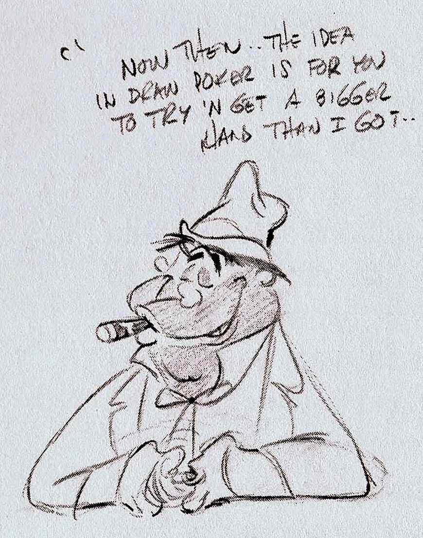 a Chuck Jones sketch for a Warner Bros. animation, a cheating bully gambler