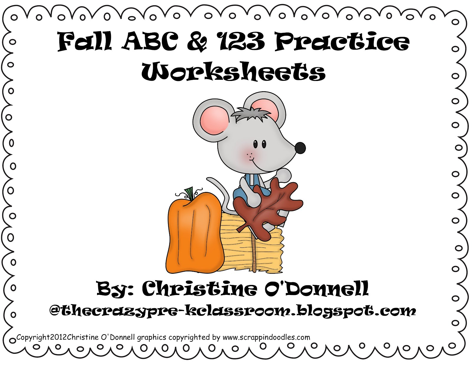 The Crazy Pre-K Classroom: Fall Freebie! Fall themed ABC and 123 Worksheets!  Deanna Jump reaches $1 [ 1236 x 1600 Pixel ]