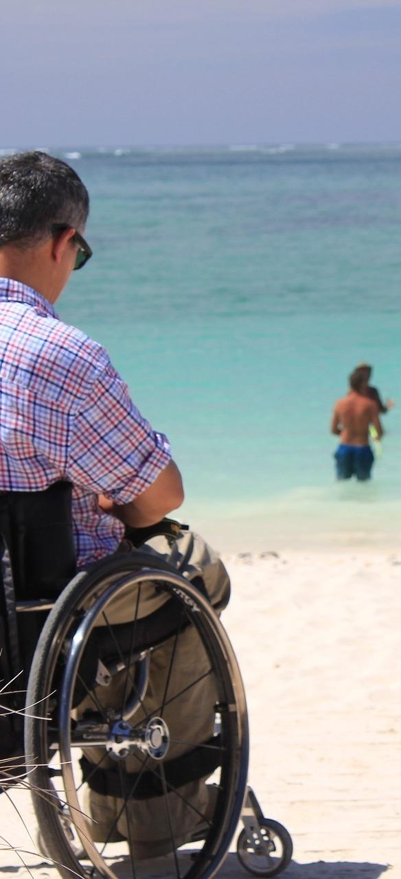 A man in a wheelchair.