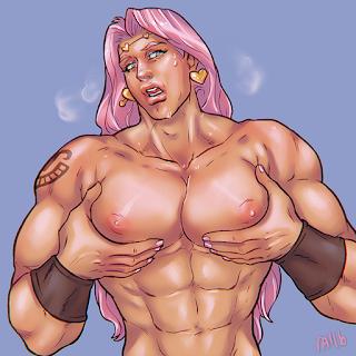 jjba gay art vanilla ice jojo topless bara tits soft pecs