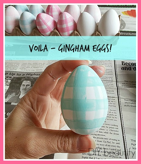 gingham painted easter eggs DIY beautify
