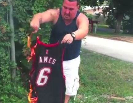 online store b4053 e47a7 Miami Heat fans have started burning LeBron's jersey and ...