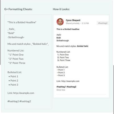 Google Plus Formatting Cheats