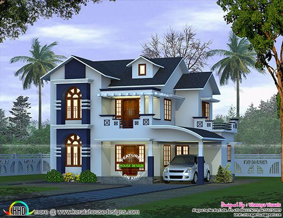 1717 square feet 3 bedroom sloping roof home