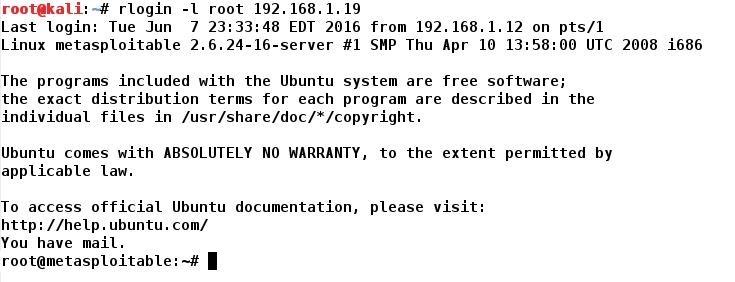 Whitelist: METASPLOIT - Linux - RLogin