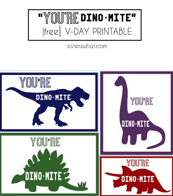 Dinosaur Valentines day Card | Free Printable and Silhouette Studio File