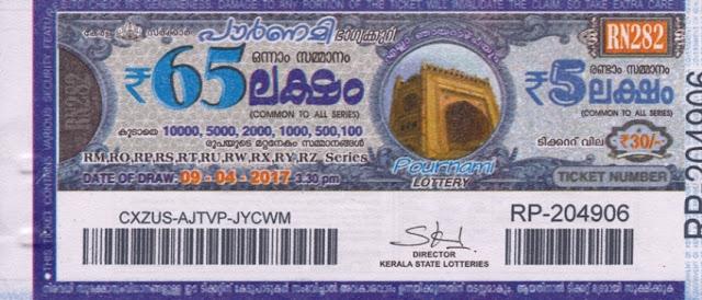 Full Result of Kerala lottery Pournami_RN-121