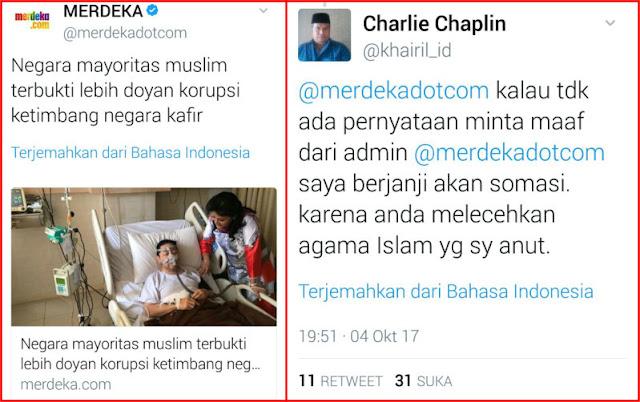 Heboh! Sudutkan Islam Dengan Berita Provokatif, MerdekaCom Segera Disomasi Netizen