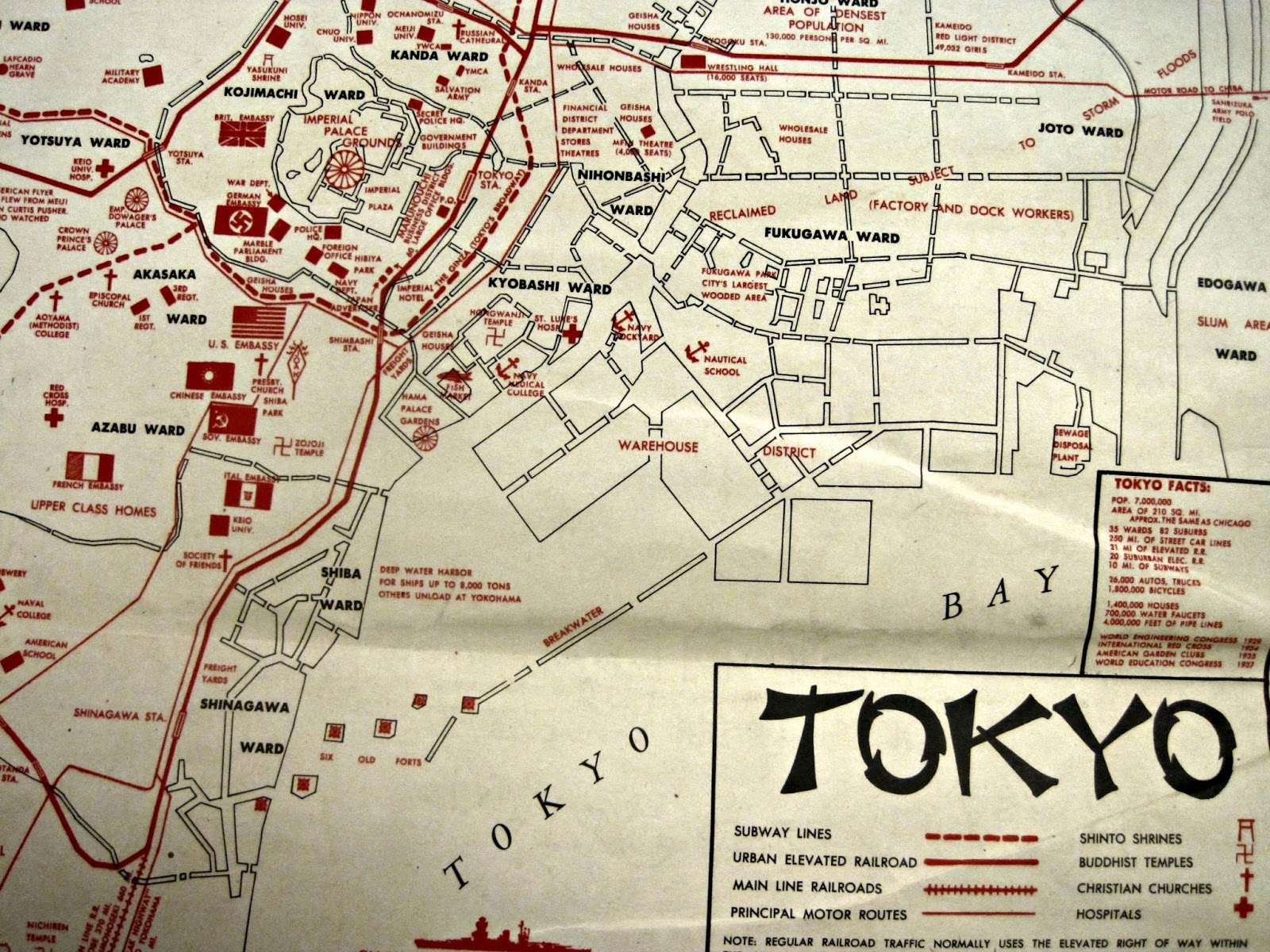 occupation map 1945 st luke s is located just below the kyobashi ward label in the center of the photo