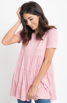Buy now blush Short Sleeve Ruffled Tiered Tunic Online $10 -@caralase.com