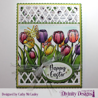 Divinity Designs Stamp Set:  Glorious Easter, Paper Collection:  Spring Flowers 2019, Custom Dies: Pierced Rectangles, Scalloped Rectangles, Lattice Background, Ovals, Scalloped Ovals, Bitty Butterflies
