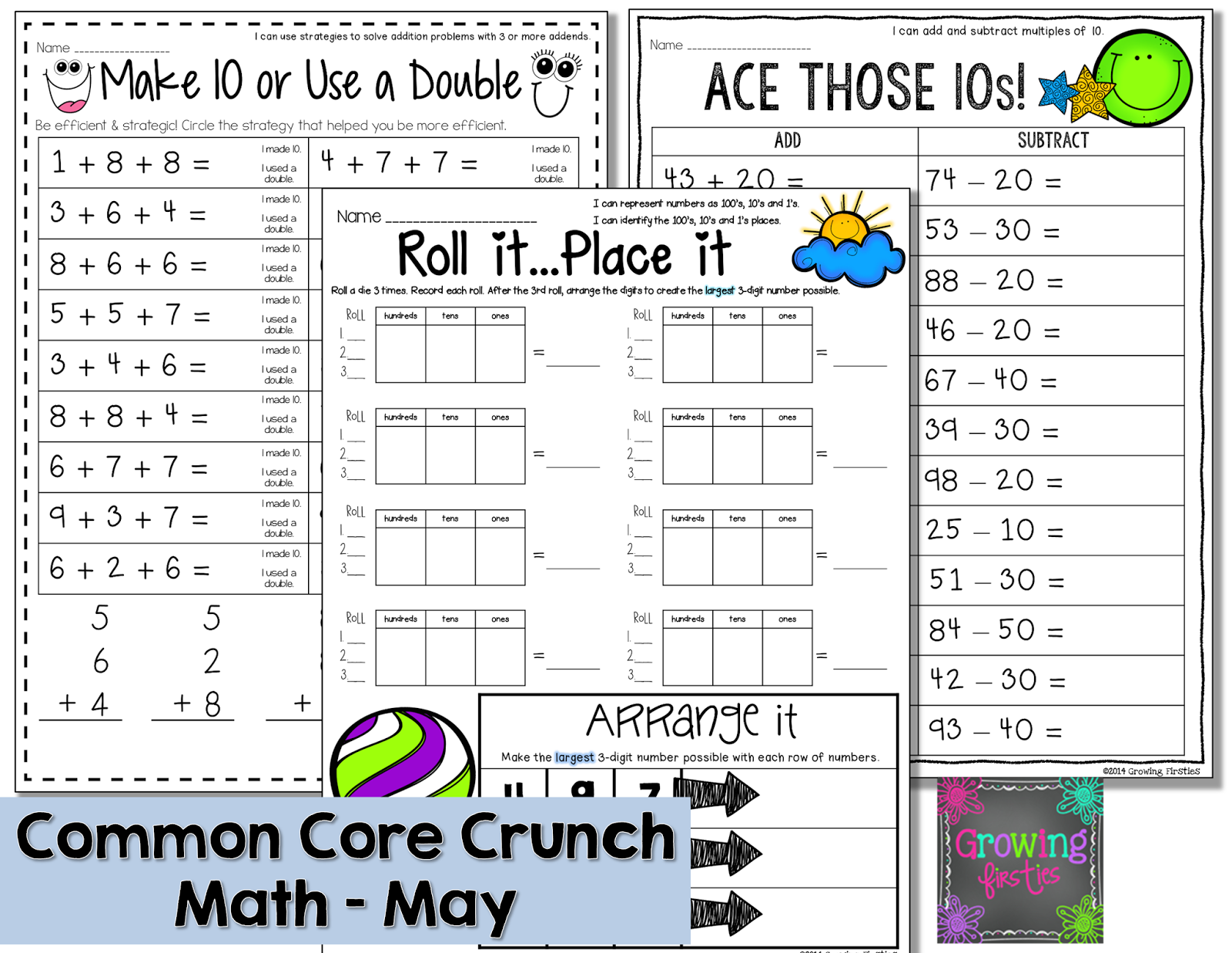 Growing Firsties - Common Core Crunch - May Math