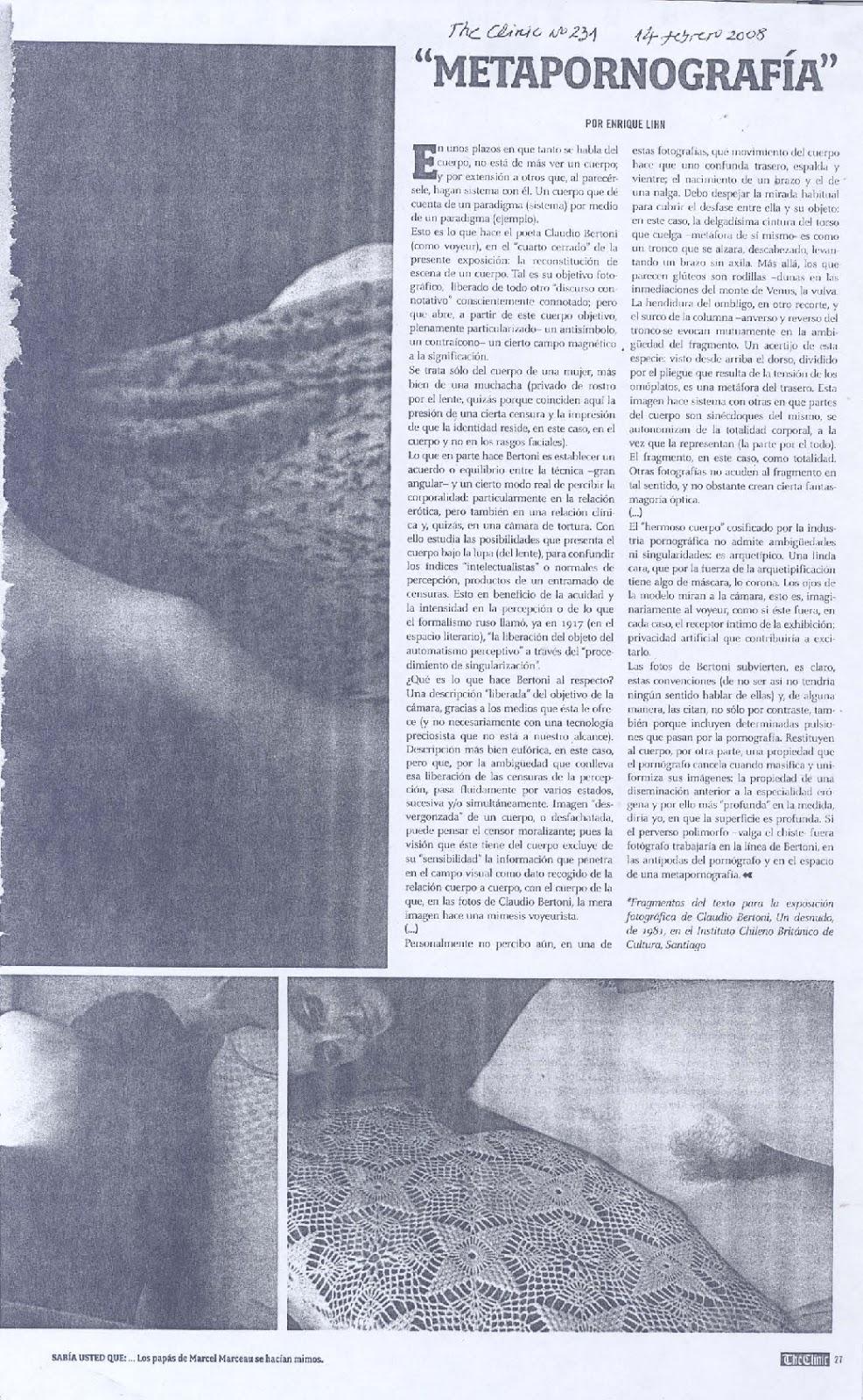 Metapornografía: Texto de Enrique Lihn en relación a la exposición fotográfica de Claudio Bertoni