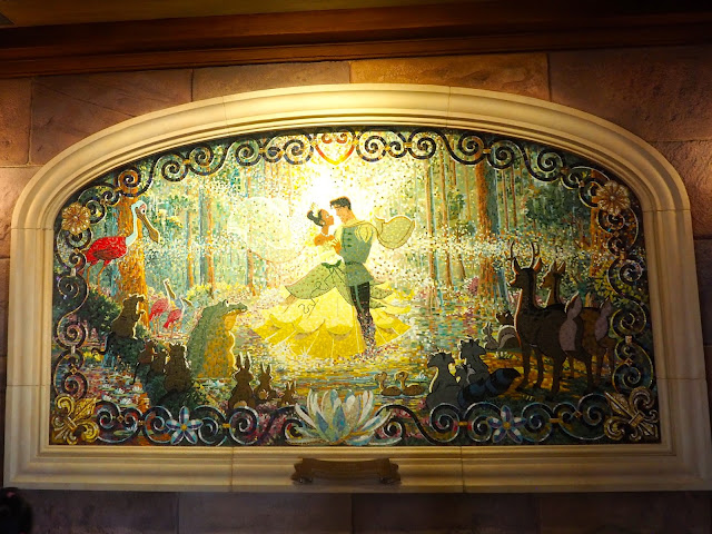 Princess and the Frog mural in the Enchanted Storybook Castle, Shanghai Disneyland, China