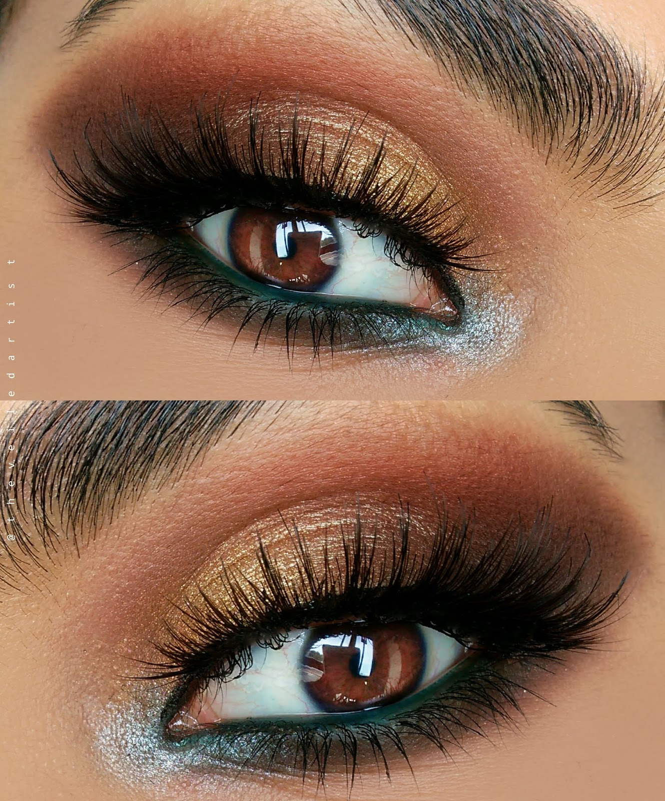 Perfect Yellow Gold Smokey Eyes With A Pop Of Teal Step By Step