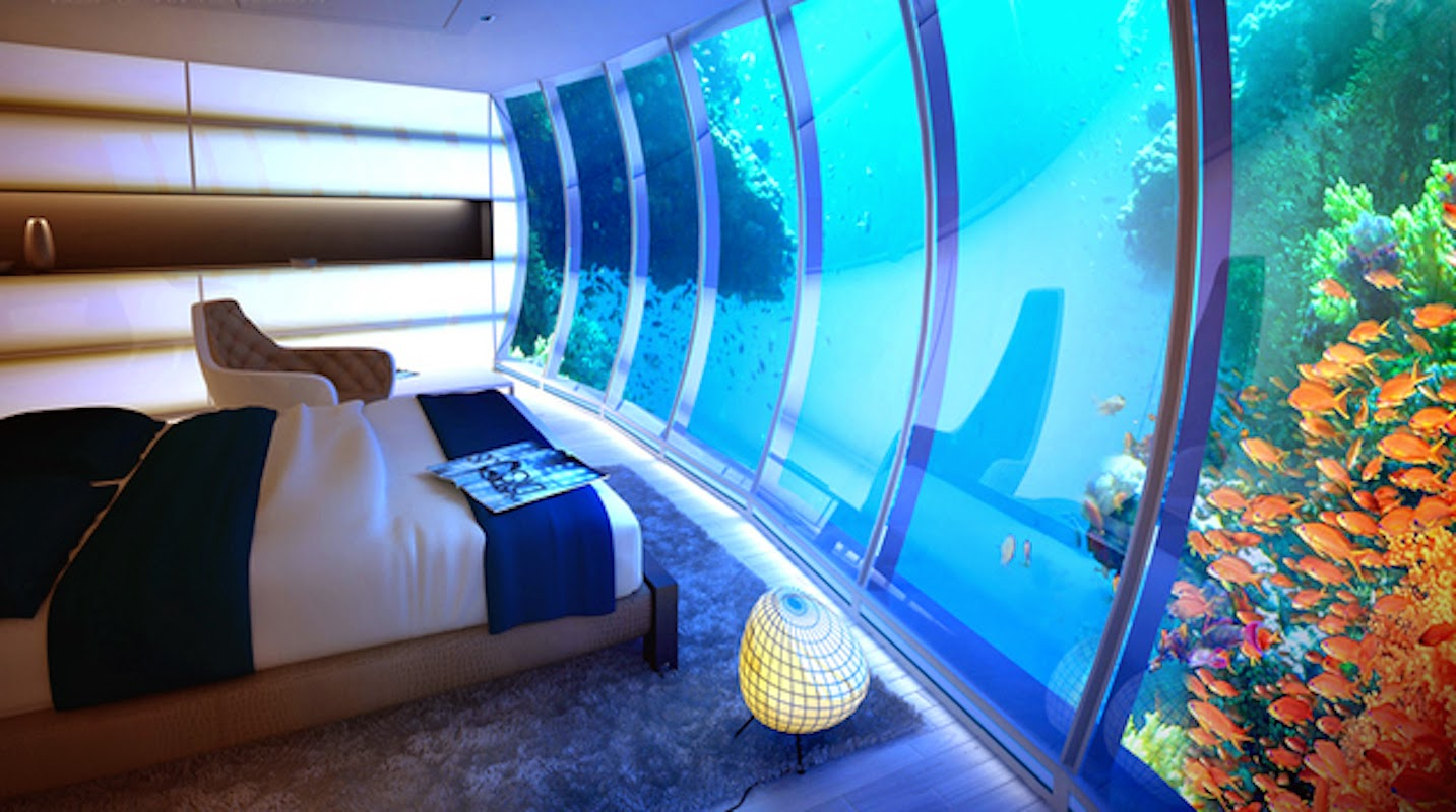 11. Many people wake up to the sounds of the ocean each morning. This underwater room allows you to wake up INSIDE of the ocean, alongside a flurry of brightly-colored fish. - 21 Places to Take a Nap Straight Out Of Your Fantasies