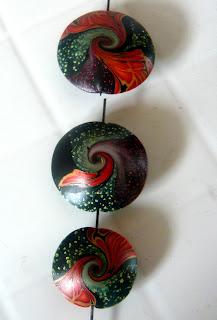 My Polymer clay lentil swirled beads, my final design