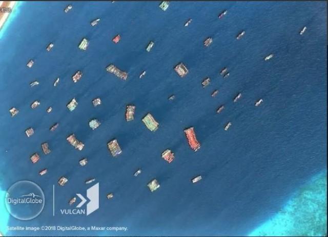 Hình ảnh vệ tinh chụp các tàu của Trung Quốc ở Trường Sa