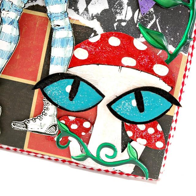 Painted and Glitter Chipboard Mushroom Trio and Wood Veneer Cheshire Cat Eyes