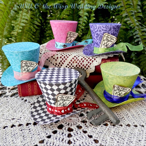 Alice in Wonderland Decorations 5 MAD HATTER party favors  Mini Top hats available in 2 SIZES